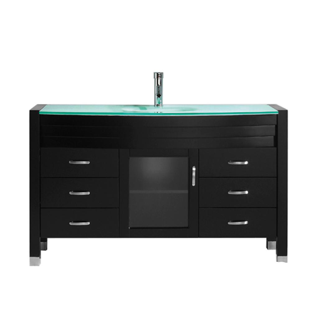 Virtu USA Ava 55 in. W Bath Vanity in Espresso with Glass Vanity Top in Aqua Tempered Glass with Round Basin and Faucet