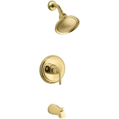 Devonshire 1-Handle Rite-Temp Tub and Shower Faucet Trim Kit in Polished Brass (Valve Not Included)