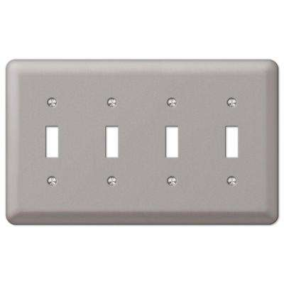 Steel 4 Toggle Wall Plate - Pewter