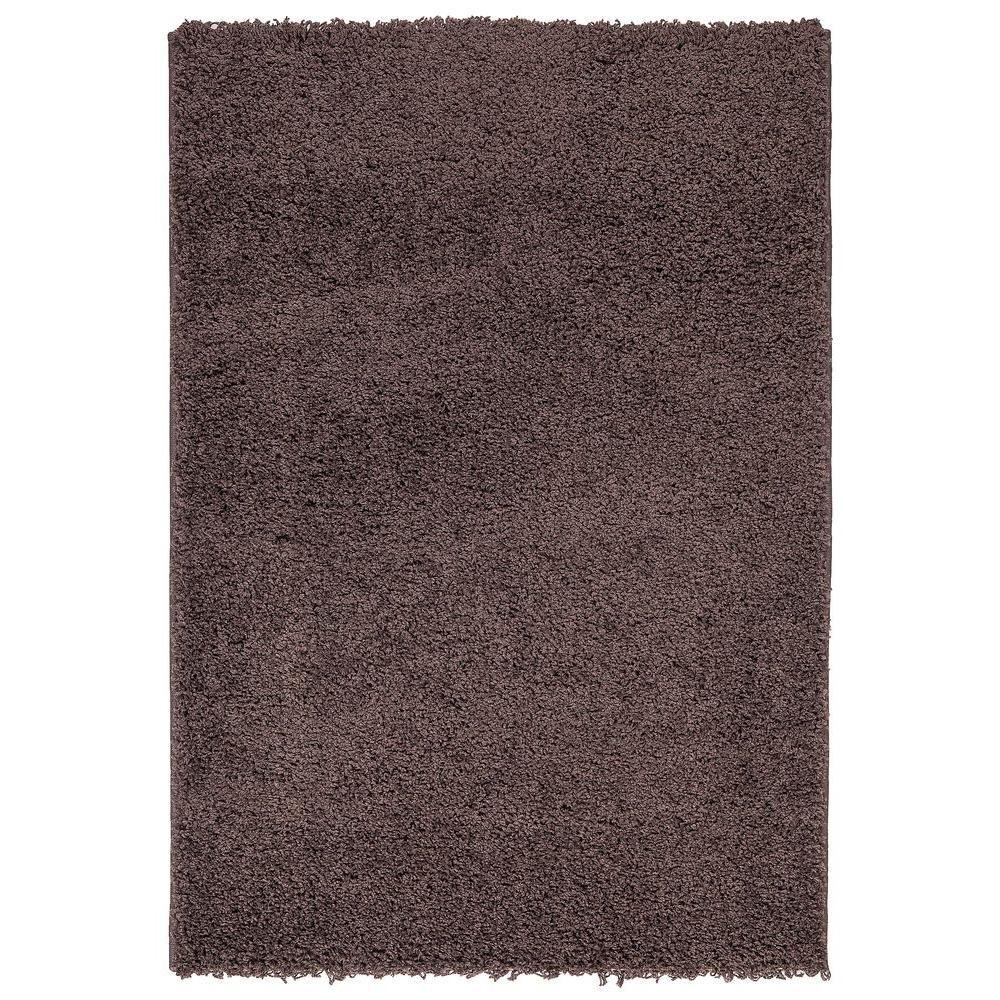 Plush Solid Shaggy Brown 3 ft. 3 in. x 4 ft.