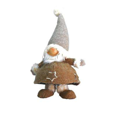 18 in. Plush and Portly Champagne Bobble Action Gnome Christmas Tabletop Figure