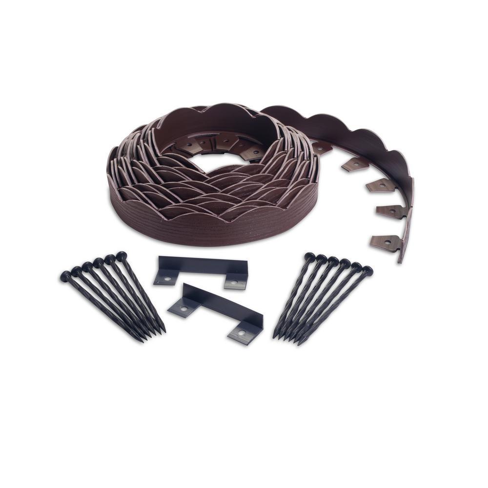 ProFlex ProFlex 40 ft. Brown Scalloped Woodgrain Plastic No-Dig Edging Kit