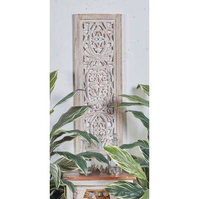 "36 in. x 12 in. ""Carved Botanical Scrollwork"" Framed Wooden Wall Art"