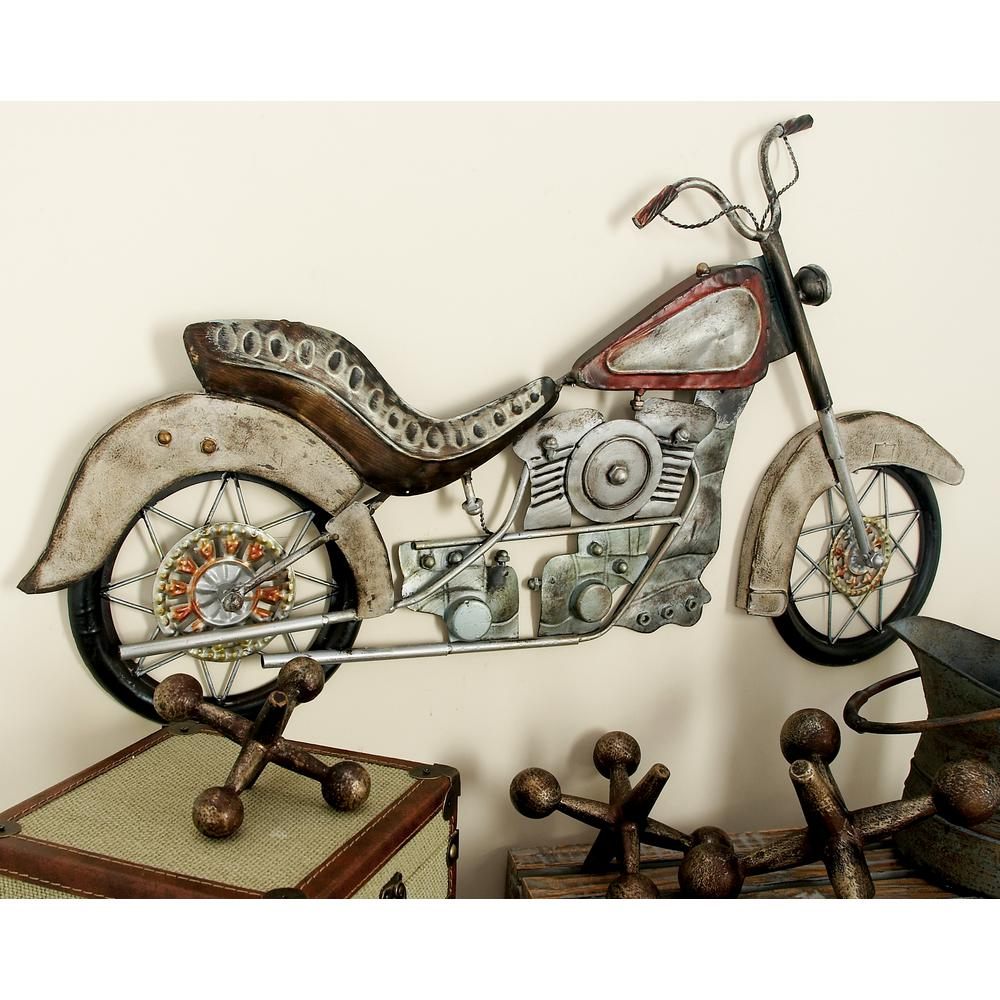 Metal Motorcycle Wall Art.17 In X 30 In Metal Vintage Motorcycle Wall Plaque