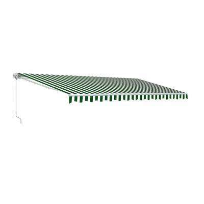 20 ft. Motorized Retractable Awning (120 in. Projection) in Green and White Stripe