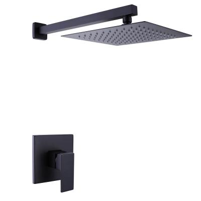 1-Jet Square Shower Towers Wall Mounted Bathroom in Matte Black