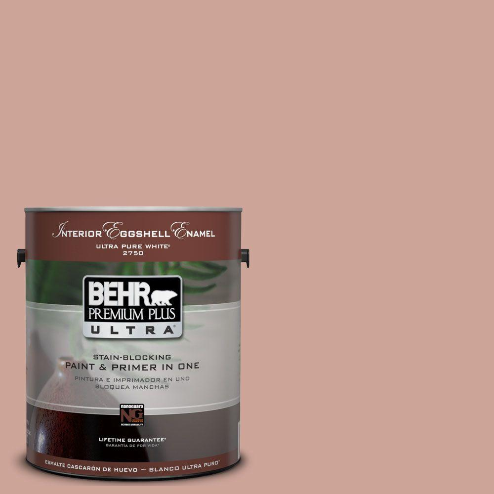 BEHR Premium Plus Ultra 1 gal. #UL120-16 Pink Ginger Eggshell Enamel Interior Paint and Primer in One