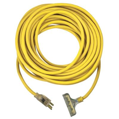 USW 50 ft. 12/3 Yellow Triple Tap Extension Cord with Lighted Plug