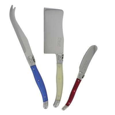 Laguiole 3-Piece Red, Blue and White Cheese Set