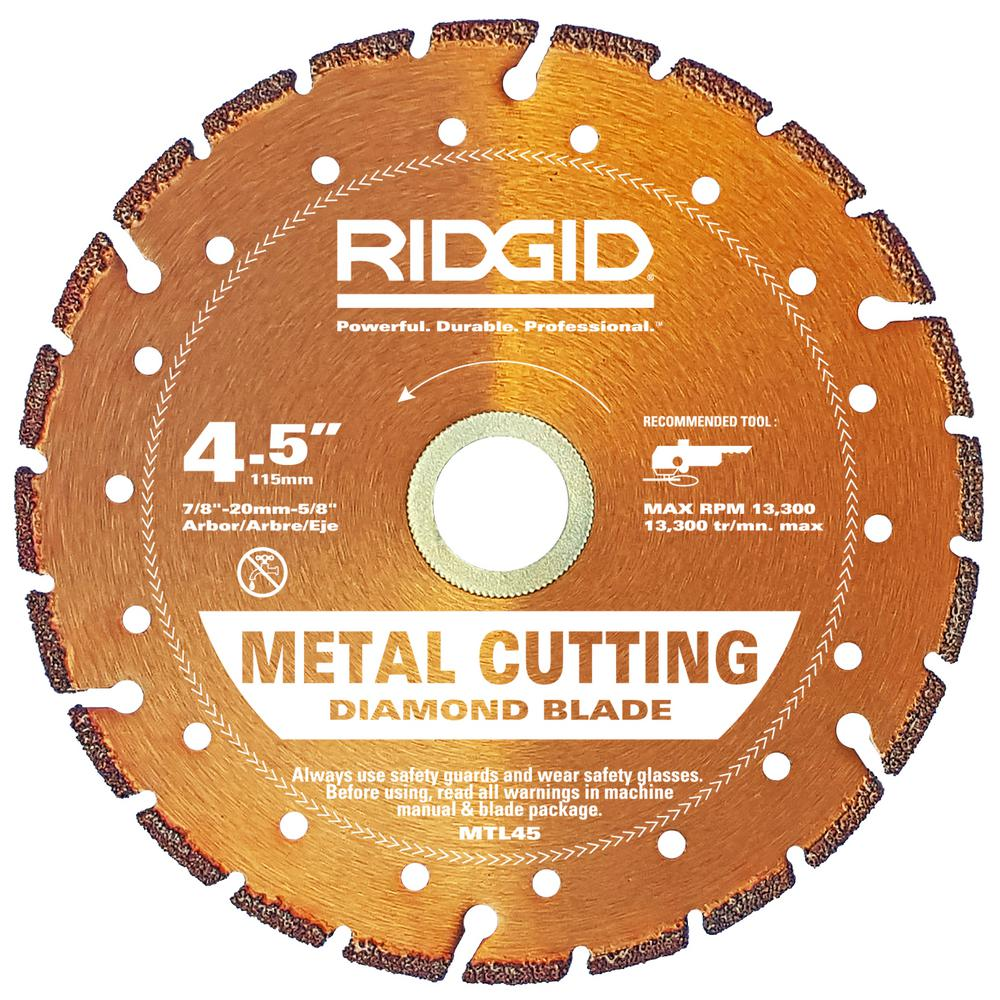 Ridgid 45 in metal cutting diamond blade hd mtl45 the home depot metal cutting diamond blade keyboard keysfo Image collections