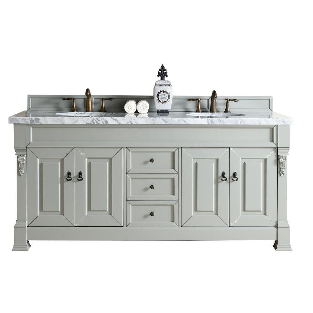 James Martin Signature Vanities Brookfield 72 In W Double Vanity Urban Gray With Marble