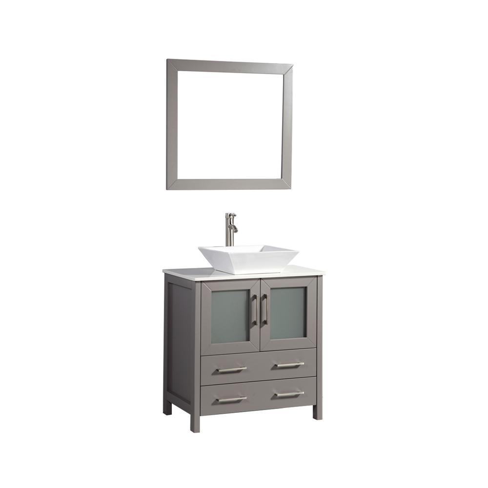 Vanity Art Ravenna 30 in. W x 18.5 in. D x 36 in. H Bathroom Vanity in Grey with Single Basin Top in White Ceramic and Mirror