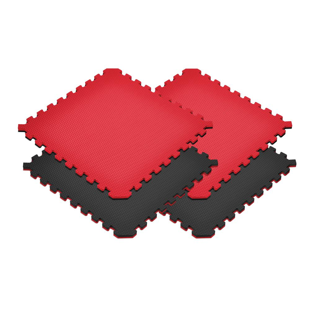 Red/Black 24 in. x 24 in. EVA Foam Truly Reversible Sport...