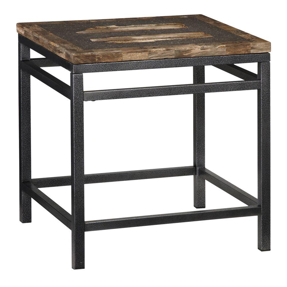 Home Styles Turn to Stone Petrified Wood and Metal End Table