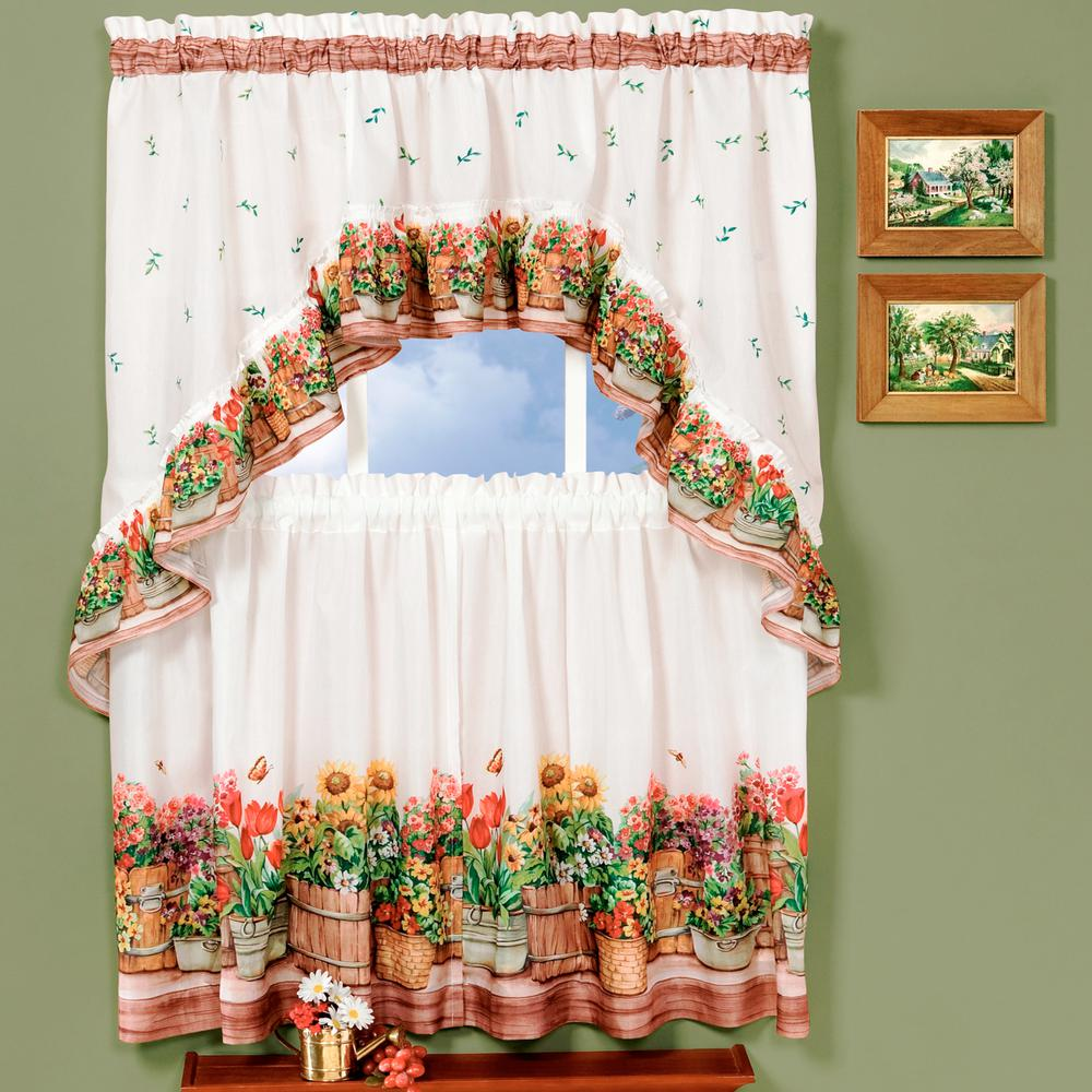 Achim Sheer Country Garden Multi Colored Printed Tier And Swag Window Curtain Set 57