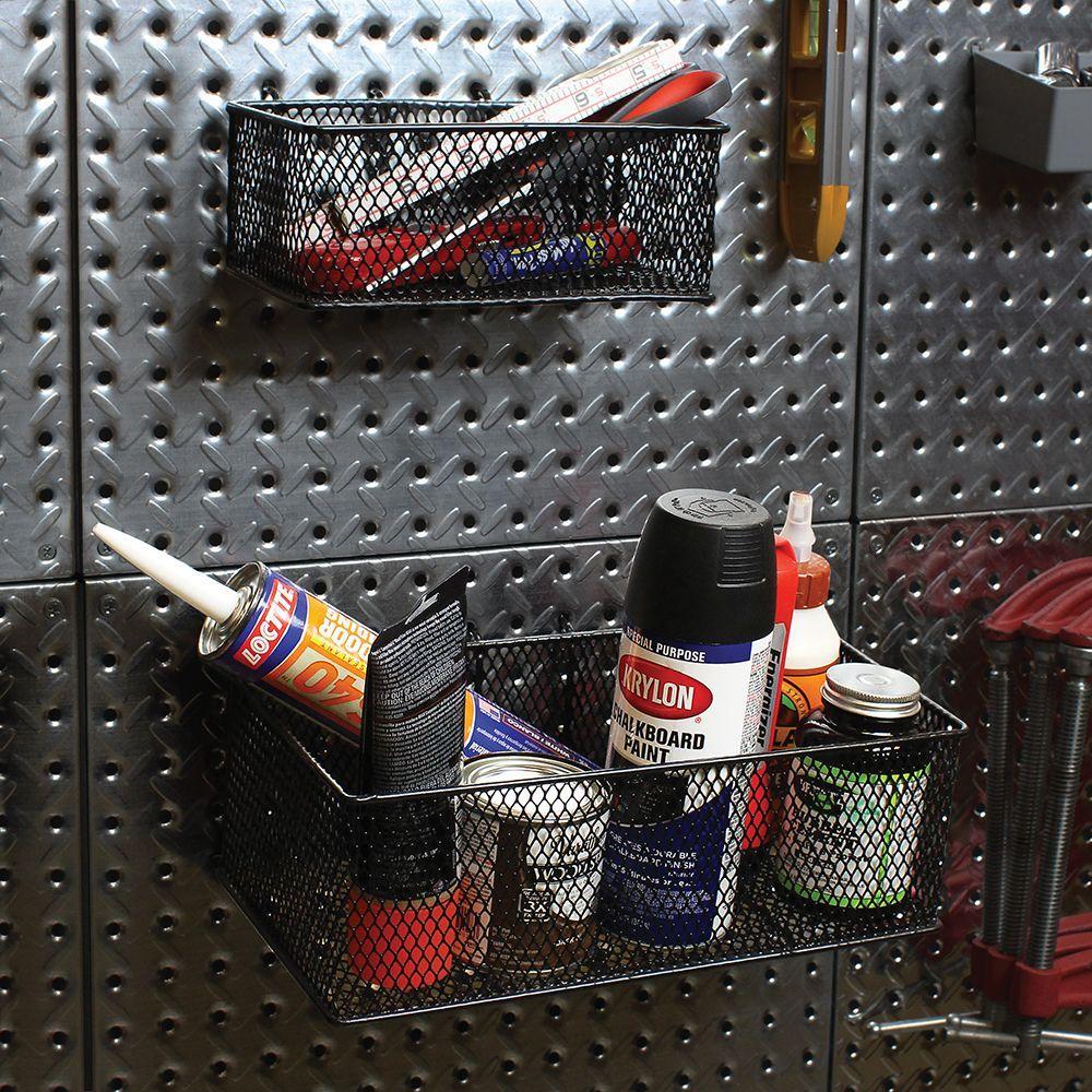 2 Pack Pegboard Baskets Steel Wire Mesh Garage Wall Storage Bins Black Finish
