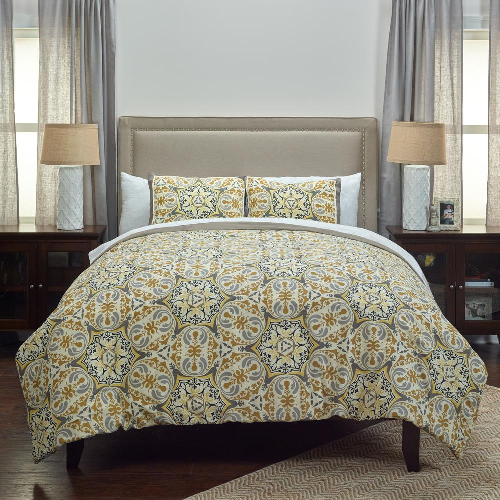 Gray/Gold Pattern 3-Piece King Bed Set