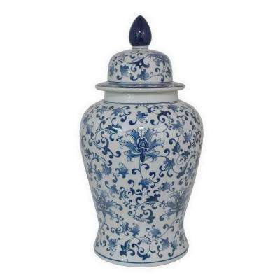 24 in. Blue and White Ceramic Temple Jar