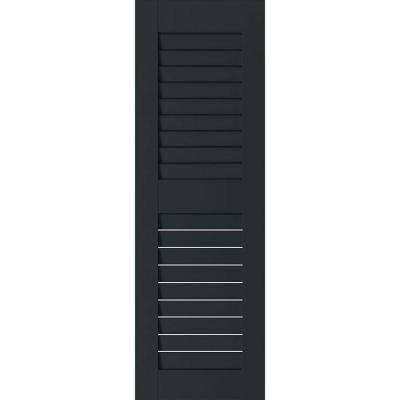 15 in. x 69 in. Exterior Real Wood Sapele Mahogany Louvered Shutters Pair Dark Green