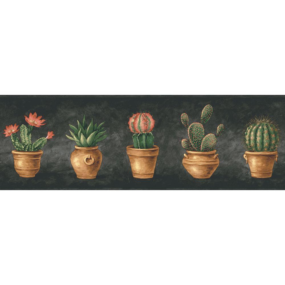 The Wallpaper Company 6.83 in. x 15 ft. Black Cactus Border