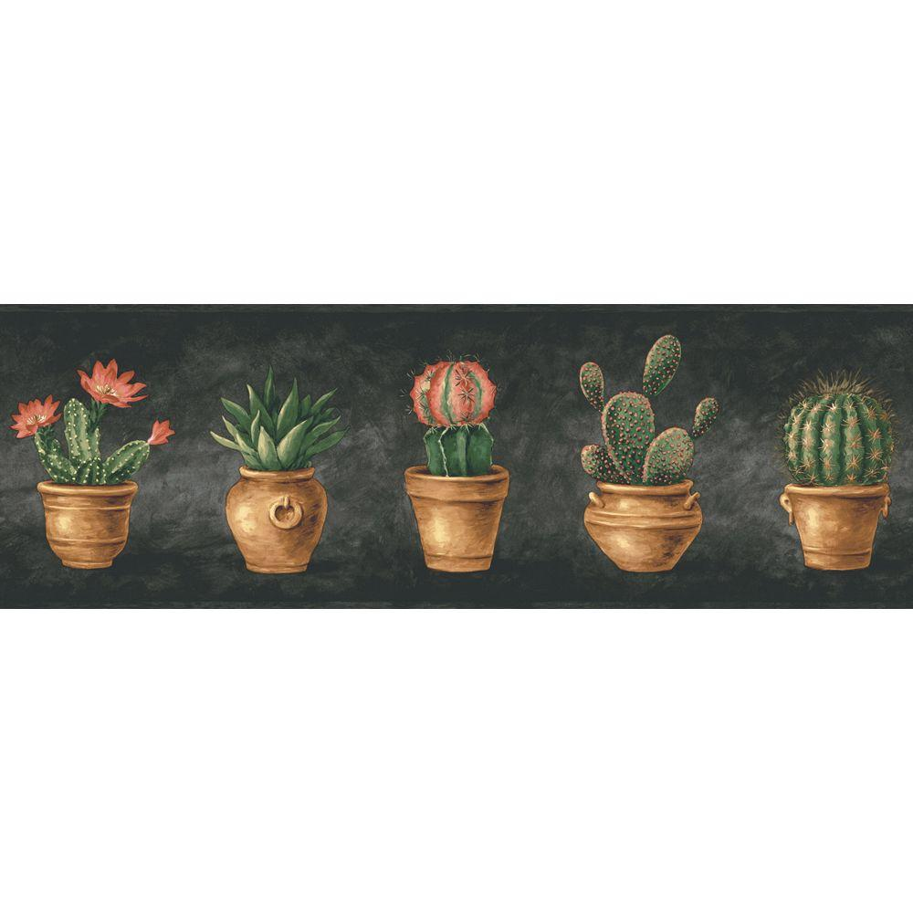 The Wallpaper Company 6.83 in. x 15 ft. Black Cactus Border