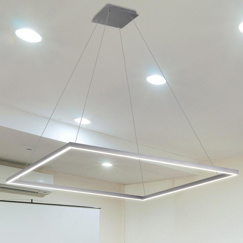 Atria Square 39 in. 64-Watt Silver Integrated LED Chandelier