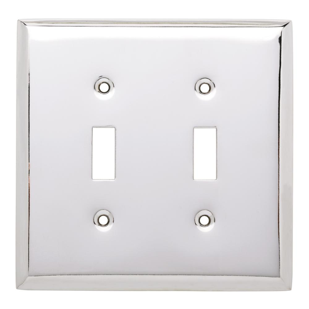 Stamped Square Decorative Double Switch Plate, Polished Chrome