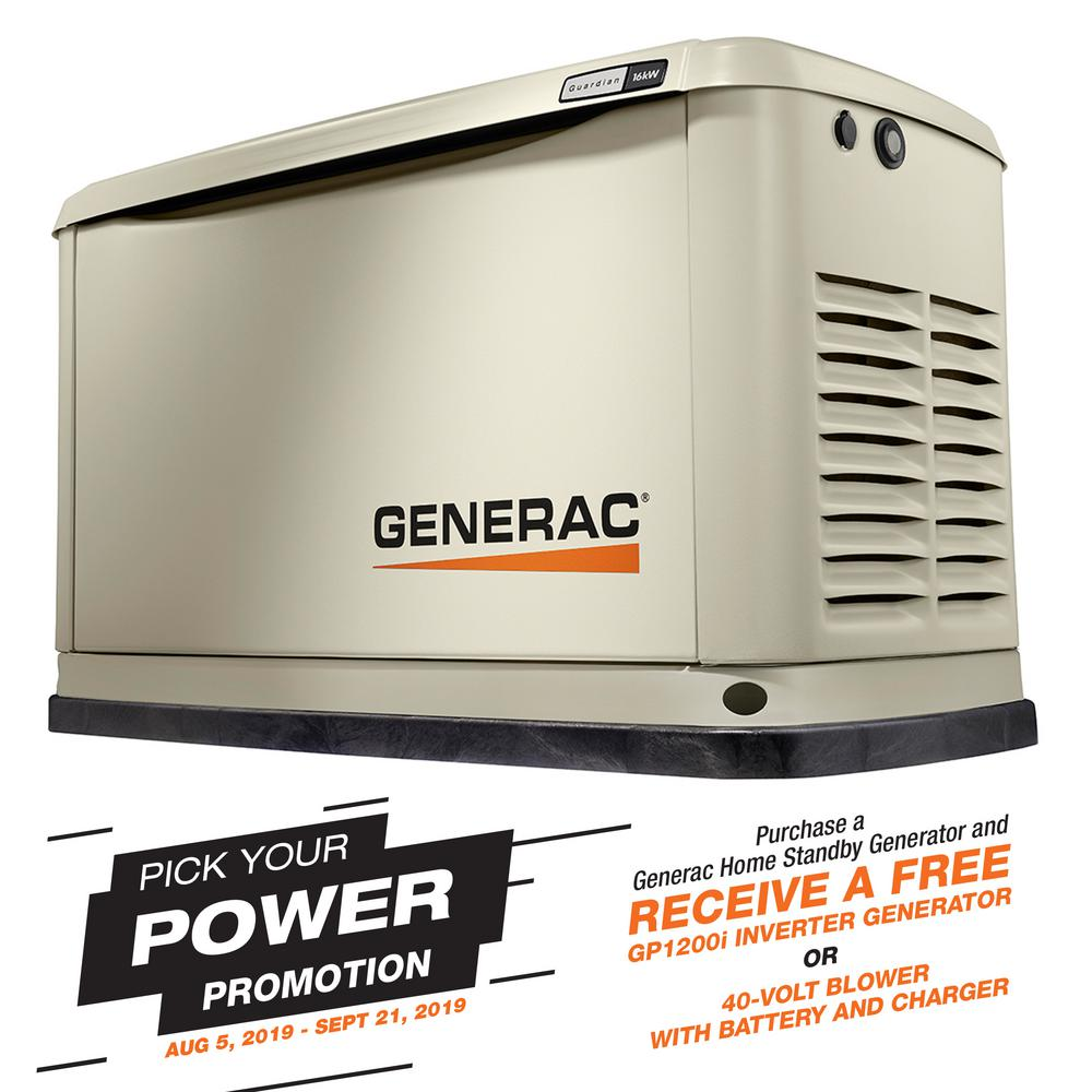 Generac Guardian Series 16000 Watt Lp 16000 Watt Ng Air Cooled Standby Generator With Wi Fi