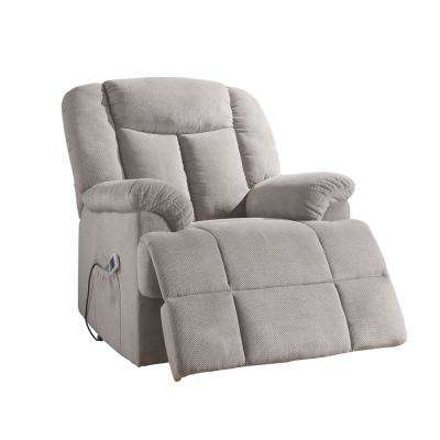 Ixia Light Gray Fabric Recliner with Power Lift and Massage