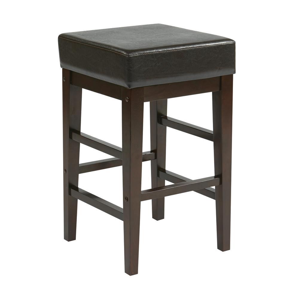 25 in. Square Espresso Faux Leather Bar stool with Espresso Legs
