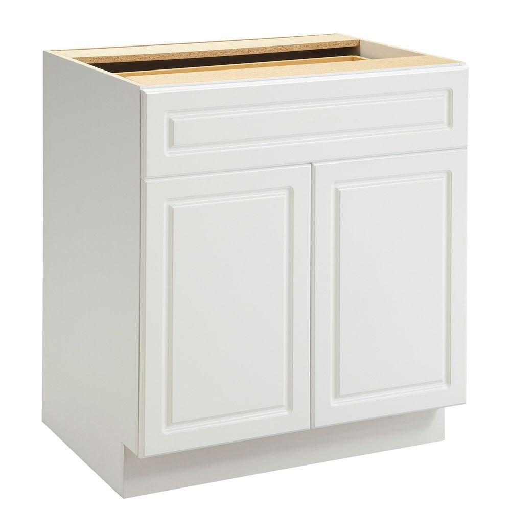 Heartland Cabinetry Heartland Ready to Assemble 30x34.5x24.3 in. Base Cabinet with Double Doors and 1 Drawer in White