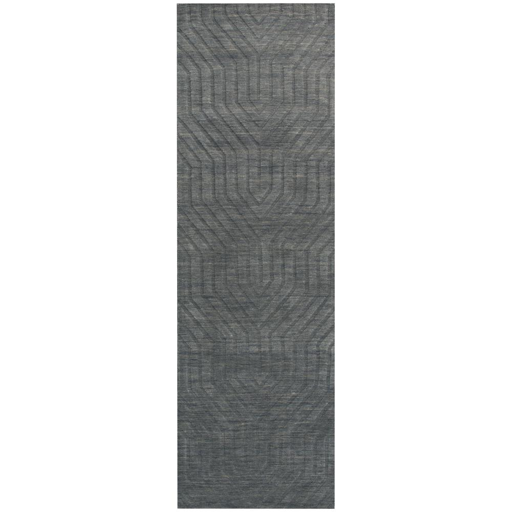 Rizzy Home Technique Dark Grey Solid 3 Ft X 8 Runner Rug