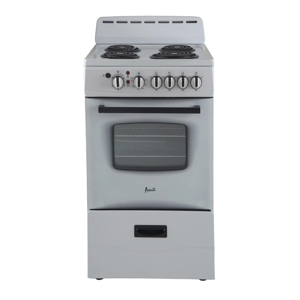 Avanti 20 in. 2.1 cu. ft. Electric Range in White This Avanti 20 in. Electric Range Comes with a Backsplash and Storage Drawer. It features 4 coil burners, 2.1 cu. ft. capacity, deluxe see-thru glass oven door, oven cavity light, a backsplash and leveling legs. Fits great in small areas where most regular size stoves wont. Color: White.