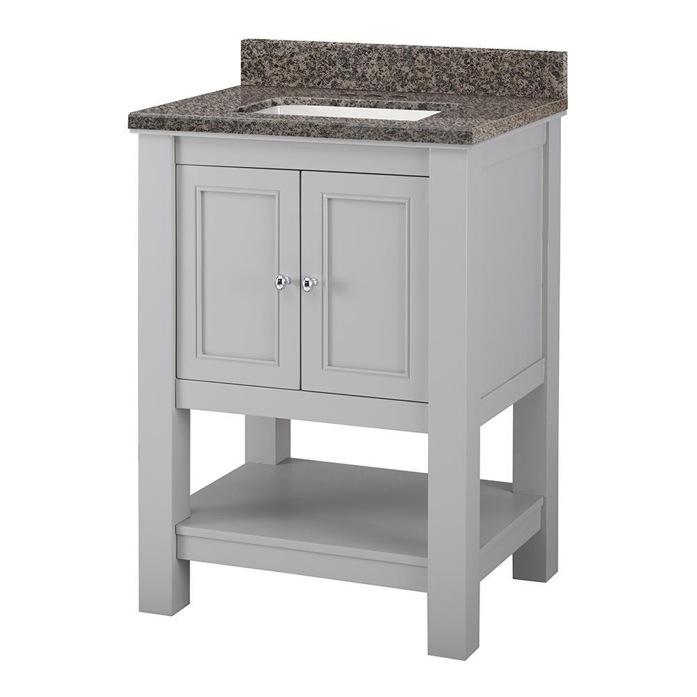 Gazette 25 in. W x 22 in. D Vanity in Grey with Granite Vanity Top in Sircolo with White Sink