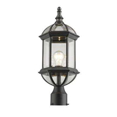Gala 1-Light Outdoor Black Post Light with Clear Beveled Glass