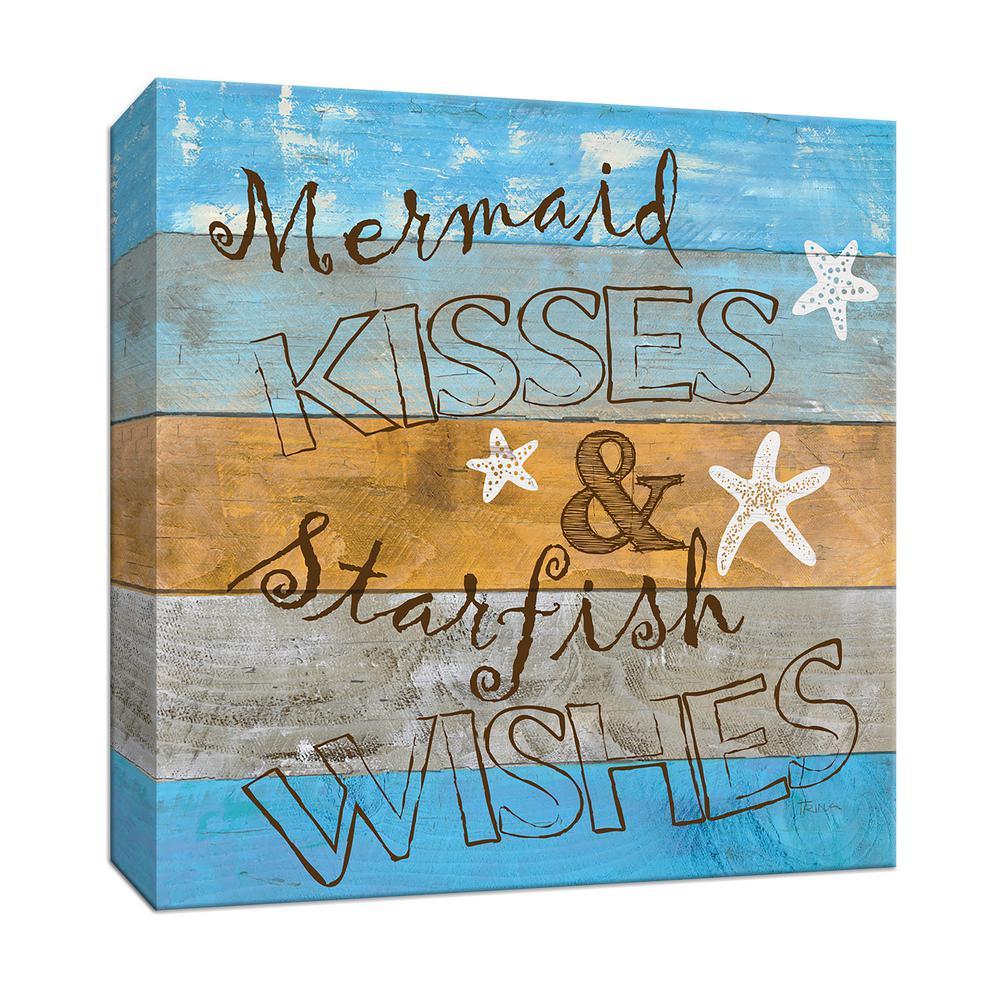 15 in. x 15 in. ''Woodgrain Mermaid Kisses'' Canvas Wall Art