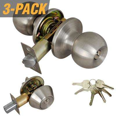 Stainless Steel Entry Door Knob Combo Lock Set with Deadbolt and 18 Keys Total, (3-Pack, Keyed Alike)