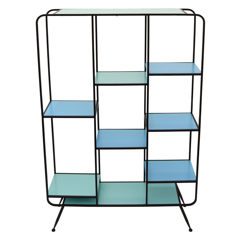 THREE HANDS 35.5 in. x 9.75 in. Wood and Metal Shelf - Turquoise in