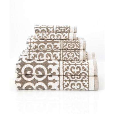 Arabesque 6-Piece 100% Cotton Bath Towel Set in Fawn