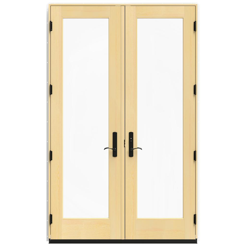 Jeld wen in x 95 5 in w 4500 brilliant white for Wood patio doors home depot