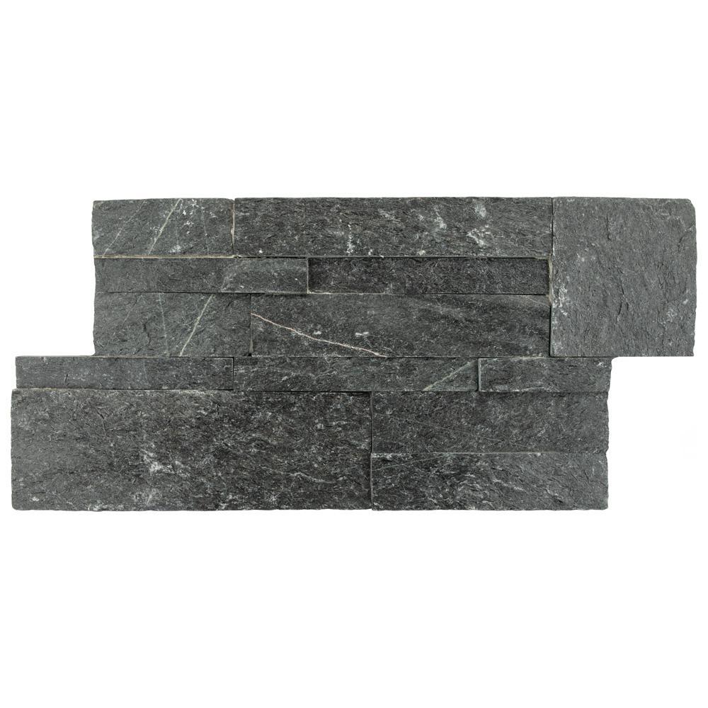 Merola Tile Ledger Panel Black Quartzite 7 in. x 13-1/2 in. Natural Stone Wall Tile (6 cases / 31.5 sq. ft. / pallet)