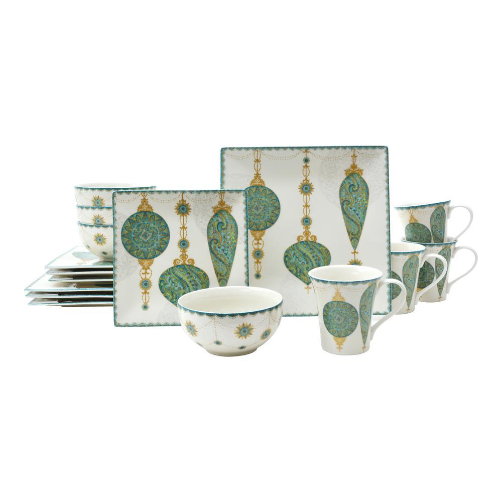 222 Fifth Constantina Turquoise 16-Piece Dinnerware Set Deals