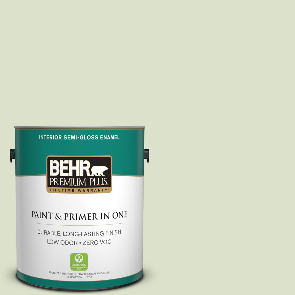 BEHR Premium Plus 1-gal. #420E-2 Palm Breeze Zero VOC Semi-Gloss Enamel Interior Paint
