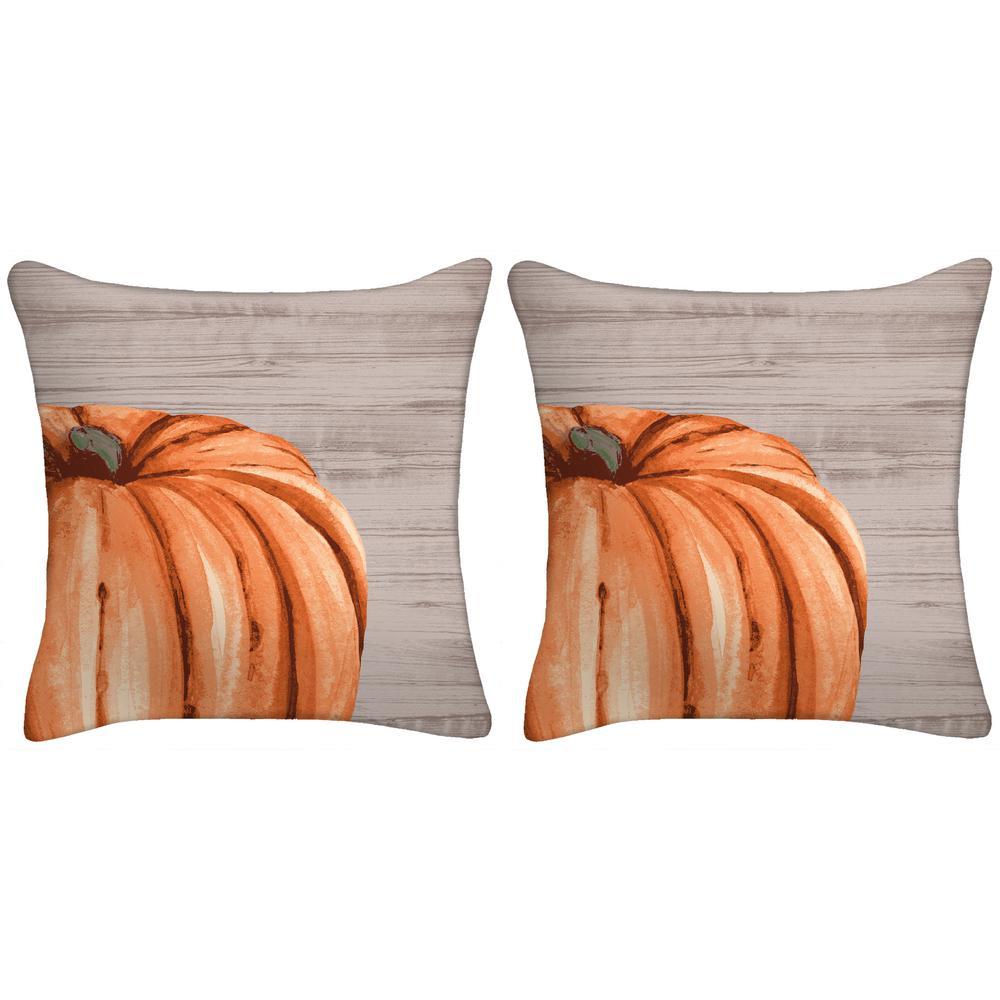 18 in. x 18 in. x 5 in. Harvest Pumpkin Toss Pillow (Set of 2)