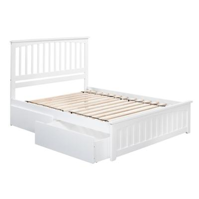 Mission White Queen Platform Bed with Matching Foot Board with 2-Urban Bed Drawers