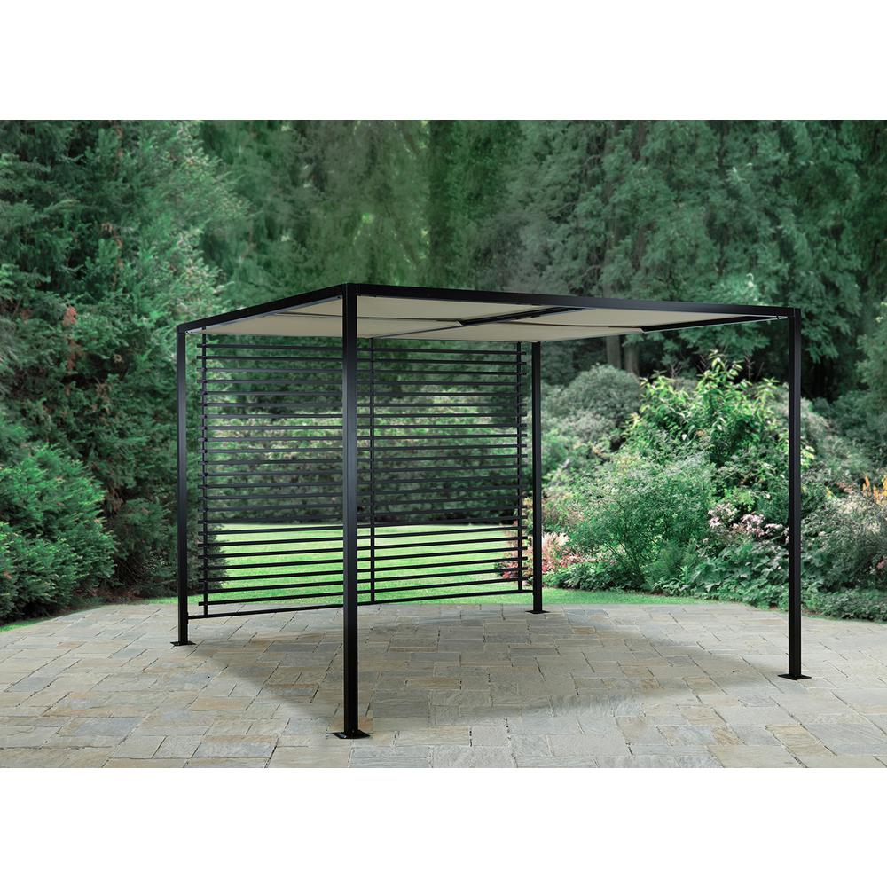 Hampton Bay Sicilia 9 ft. x 9 ft. Pergola with Roof and Slatted Back - Hampton Bay Sicilia 9 Ft. X 9 Ft. Pergola With Roof And Slatted Back