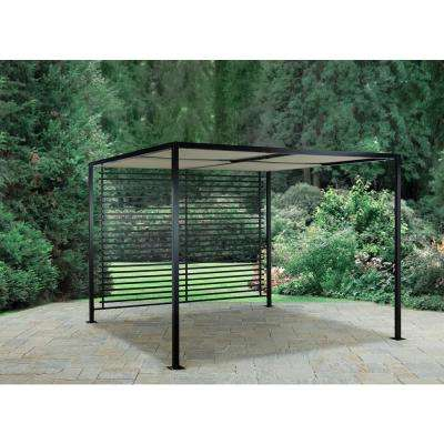 Pergola with Roof and Slatted Back Panel - Square - Metal - Pergolas - Sheds, Garages & Outdoor Storage - The