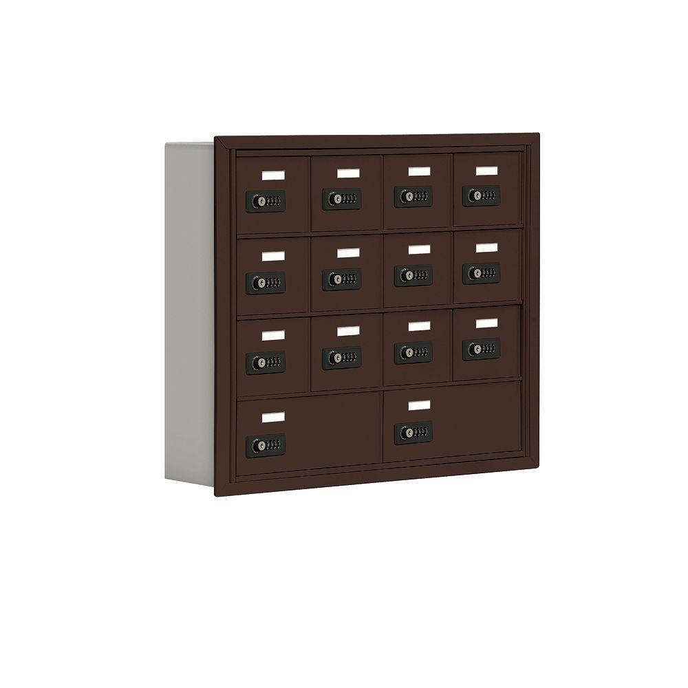 Salsbury Industries 19000 Series 30.5 in. W x 25.5 in. H x 5.75 in. D 12 A/2 B Doors R-Mount Resettable Locks Cell Phone Locker in Bronze