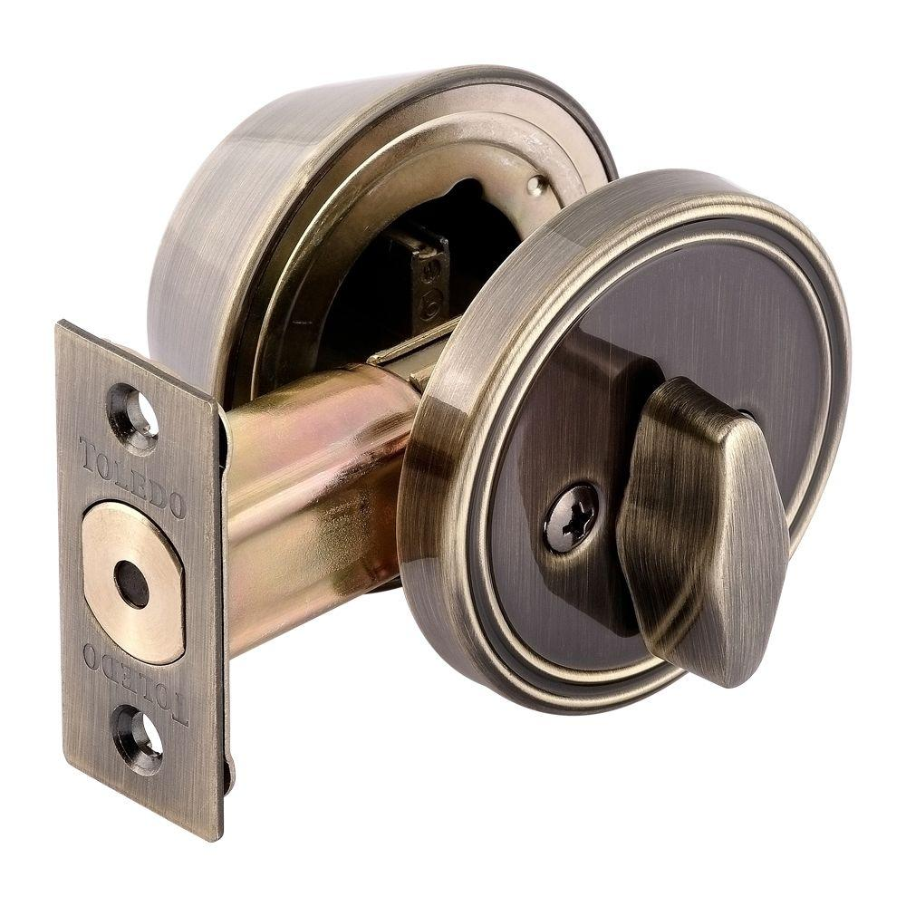 Toledo Fine Locks Single Cylinder Antique Brass Deadbolt