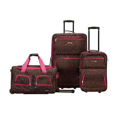 Rockland Expandable Spectra 3-Piece Softside Luggage Set, Pinkleopard